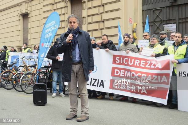 The police officer Gianni Tonelli secretary of SAP police labor union and candidate for Lega Nord at next italian political elections leads a protest...