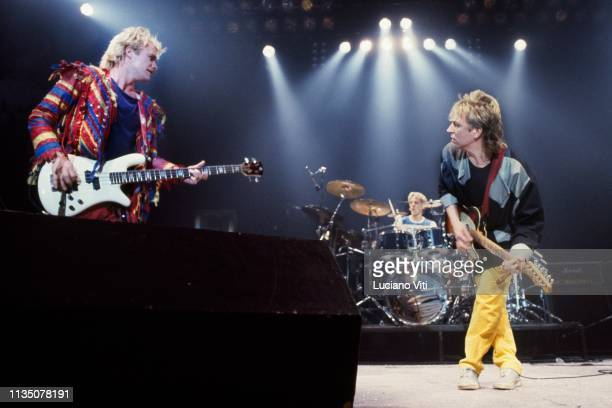 The Police perform on stage in Italy circa 1984 LR Sting Stewart Copeland Andy Summers