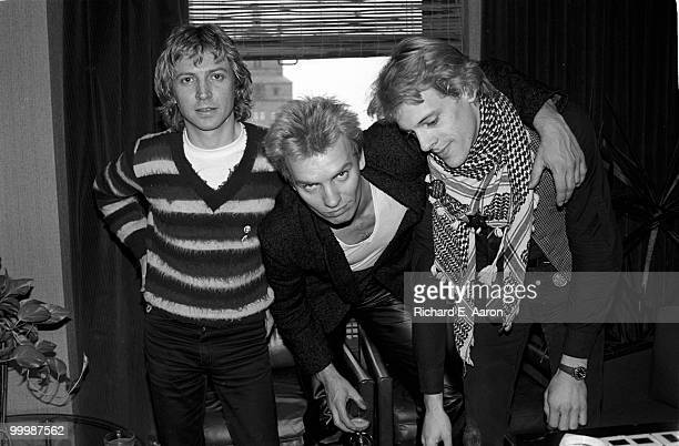The Police posed in the offices of AM Records in New York City on April 04 1979 LR Andy Summers Sting Stewart Copeland