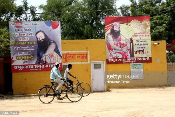 The police post of Dera Sacha Sauda near the agriculture fields of Dera Sacha Sauda and the posters of Gurmeet Ram Rahim Singh installed near the...