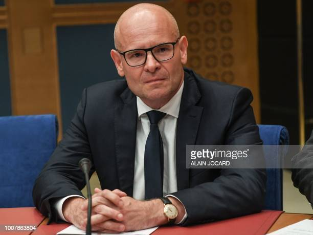 The Police prefect for France's BouchesduRhone region Olivier de Mazieres appears before the Senate Law Commission in Paris on July 30 2018 during a...