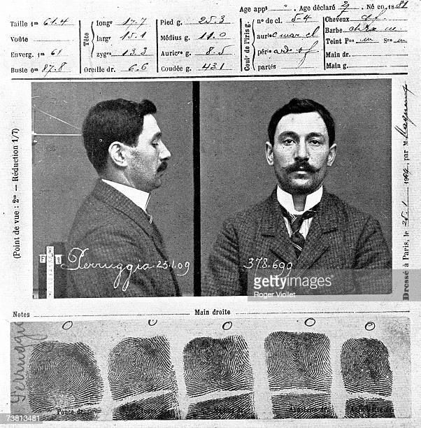The police record of Vincenzo Peruggia who attempted to steal Leonardo de Vinci's painting 'The Mona Lisa' in 1911 25th January 1909