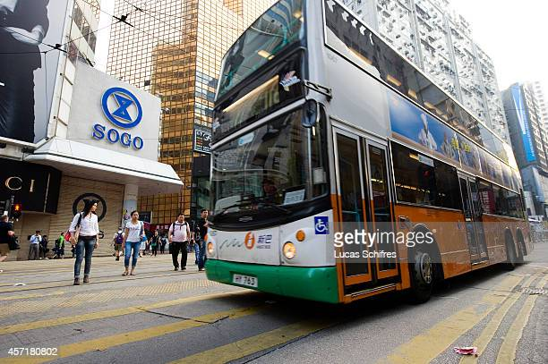 The police re-opened traffic lanes in Causeway Bay and this bus is among the first ones to use it in front of Sogo, Causeway Bay on October 14, 2014...