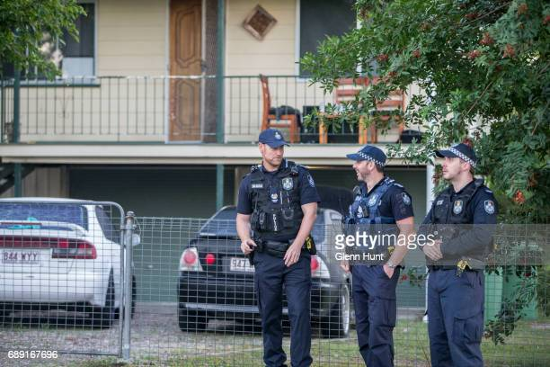 The police wait for the arrival of Schapelle Corby at her family's home on May 28 2017 in Brisbane Australia Corby was arrested in 2004 for...