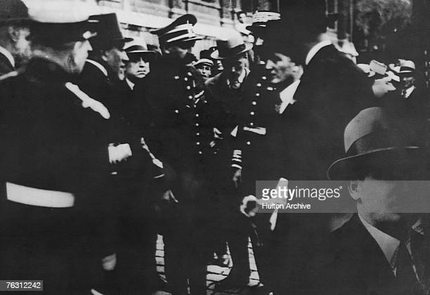 The policeman who struck down the killer of King Alexander I of Yugoslavia gives his statement after the assassination in Marseilles 9th October 1934...