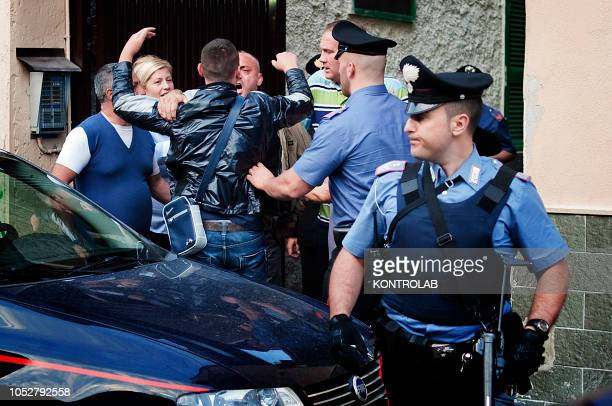 The policemen during a operation in the suburb of Naples, looking for the fugitive mafia, camorra, boss.