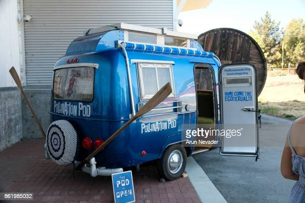 The Polination Pod on display for the film Water Makes Us Wet at the Santa Cruz Film Festival at Tannery Arts Center on October 15 2017 in Santa Cruz...