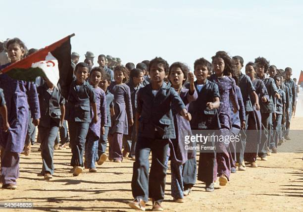 The Polisario Front celebrating the second anniversary of the independence of the Saharawi people Sahara Morocco