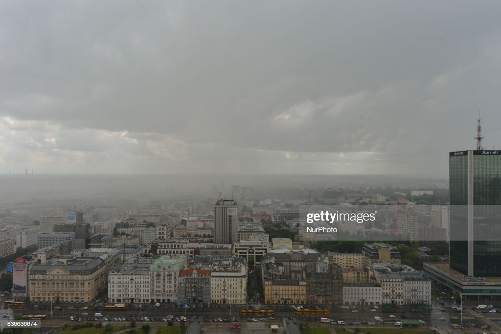 The Polish capital hit by a storm in the middle of the day - a view from the Palace of Culture and Science. On Monday, August 21, 2017, in Warsaw, Poland.