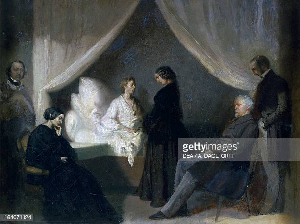 The Polish composer Frederic Chopin's final moments before death painted by an unknown 19th century artist Varsavia Muzeum Fryderyka Chopina
