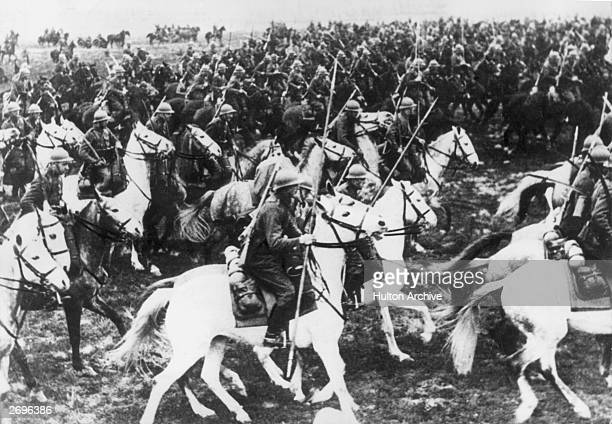 The Polish Mounted Brigade ready for battle armed with lances and swords