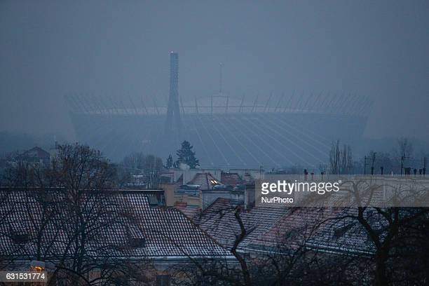 The Polish national narodowy stadium is seen on 10 January, 2016. Polish cities have been named as having the worst air quality in all of Europe,...