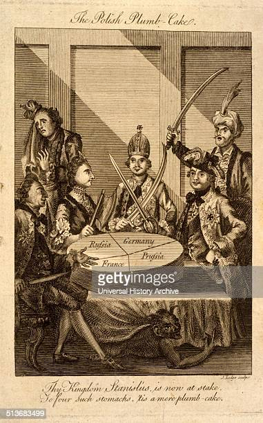 The Polish plumbcake Cartoon shows Leopold II and Frederick William II with swords drawn Catherine II holding a cleaver and Louis XV with a knife...