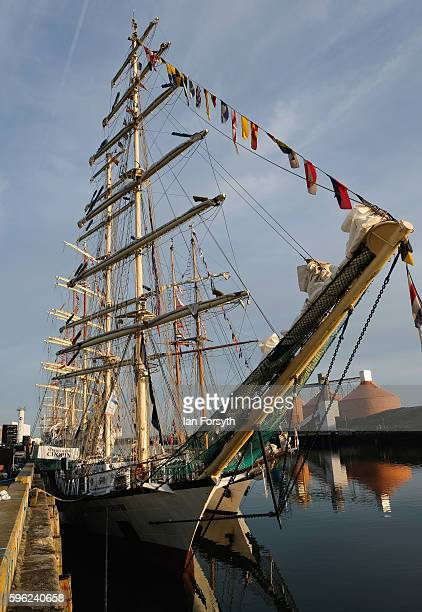 The Polish ship Fryderyk Chopin is moored alongside the quay during the North Sea Tall Ships Regatta on August 27 2016 in Blyth England The bustling...