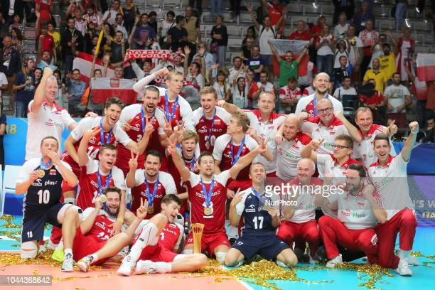 The Polish team celebrates the World Cup victory after the final match between Brazil and Poland for the FIVB Men's World Championship 2018 at Pala...