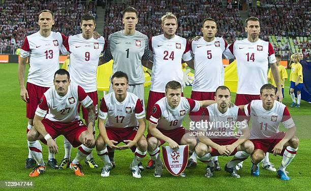 The Polish team defender Arkadiusz Glowacki forward Robert Lewandowski goalkeeper Wojciech Szczesny defender Damien Perquis defender Dariusz Dudka...