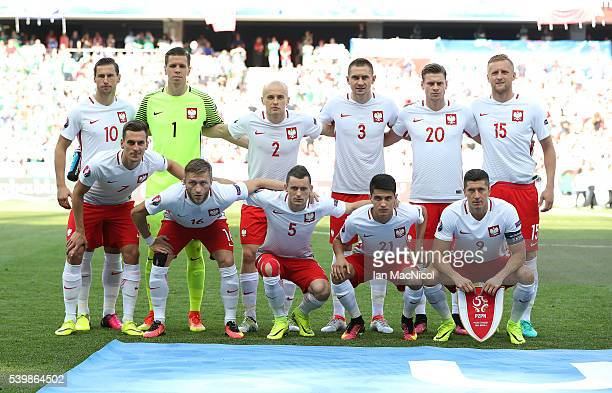 The Polish team pose for a photograph during the UEFA EURO 2016 Group C match between Poland v Northern Ireland at Allianz Riviera Stadium on June 12...