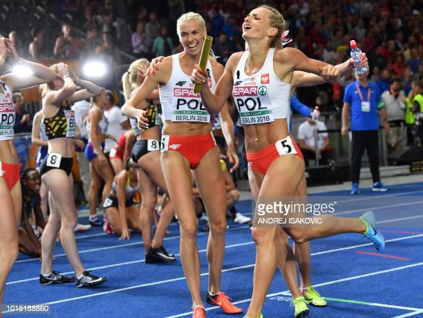The Polish team wins the women's 4x400m relay final during the European Athletics Championships at the Olympic stadium in Berlin on August 11 2018