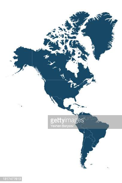 the political detailed map of the continent of america with borders of countries - noord & zuid amerika stockfoto's en -beelden
