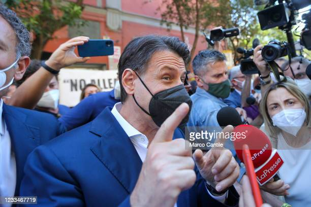 The political leader of the 5 Star Movement, Giuseppe Conte, with a mask to protect himself from Covid-19, as he arrives at the press conference for...