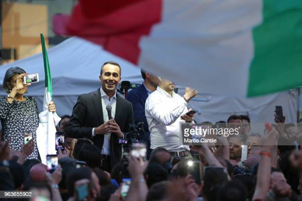 The political leader of the 5 Star Movement Luigi Di Maio during a meeting in Naples after the failure of the formation of the Government