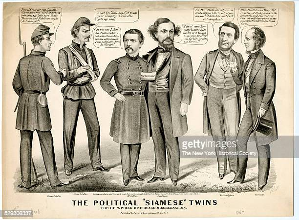 The Political Siamese Twins The Offspring of Chicago Miscegenation 1864 Lithograph by Currier Ives