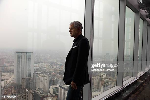 The politician and President of Lombardy Roberto Formigoni photographed at the 38th floor of the new Palazzo della regione Lombardia still on site...