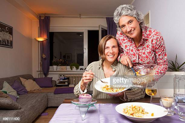 The politician Anna Paola Concia cooking a dish of pasta with her wife the criminologist Ricarda Trautmann They protest against the statements of...