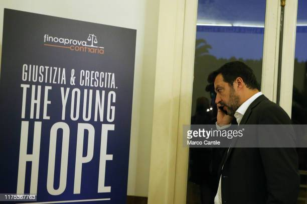 The politician Matteo Salvini, leader of Lega political movement, talking at cellular phoe before the political meeting The Young Pope.