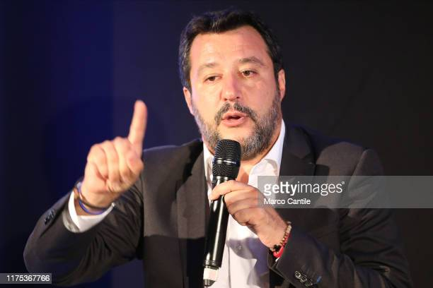 "The politician Matteo Salvini, leader of Lega political movement, during the political meeting ""The Young Pope""."