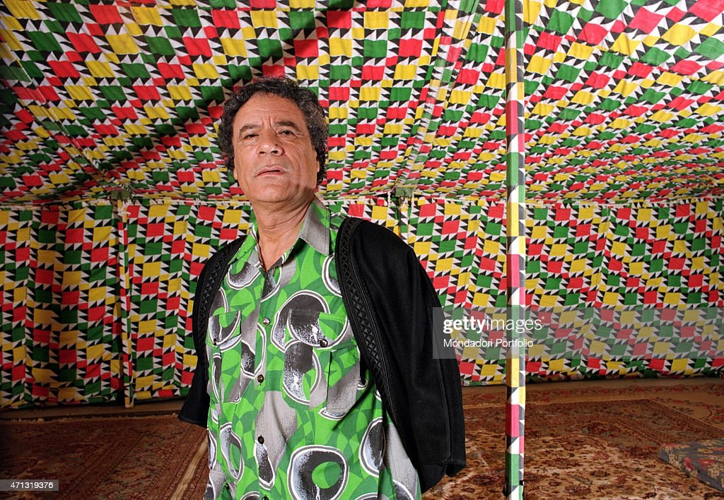 The politician Muammar Gaddafi posing in a tent for a photo shooting during the interview given  sc 1 st  Getty Images & Muammar Al Gaddafi Stock Photos and Pictures | Getty Images