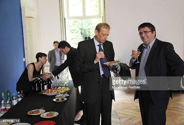 The politician Piero Fassino candidate for mayor in Turin with his staff in the Galleria Allegretti Contemporanea during a little party Turin April...