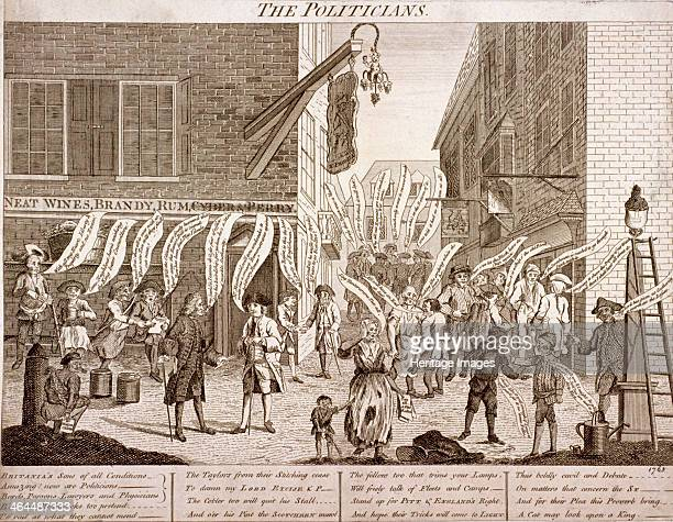 'The politicians' 1763 Figures stand in the street outside the K Prussia Tavern Some of the figures are discussing the Treaty of Paris that concluded...