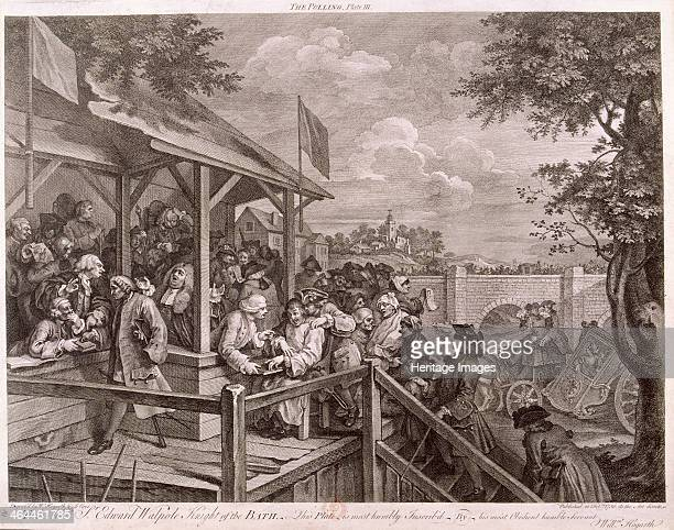 'The Polling' 1758 a polling booth on election day with reserve voters being brought up one an old soldier who has lost both arms and a leg the other...