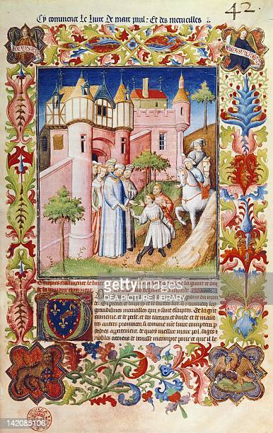 The Polo brothers leaving Costantinople miniature from Livre des merveilles du monde by Marco Polo and Rustichello France 15th Century