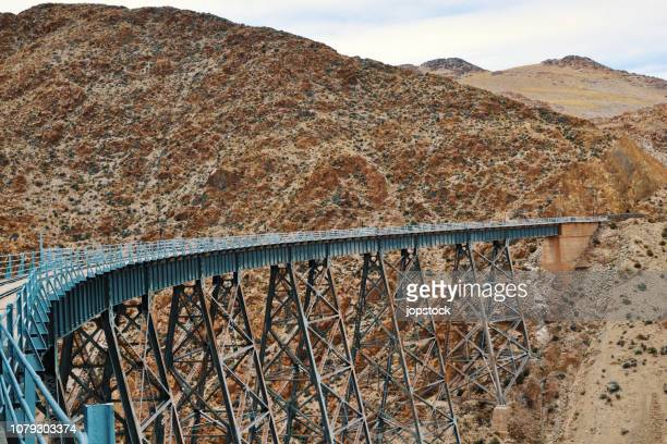 the polvorilla viaduct, in salta province, argentina - salta argentina stock photos and pictures