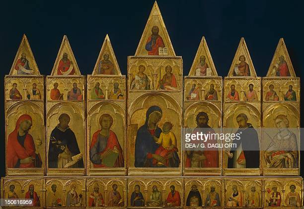The polyptych of Pisa by Simone Martini tempera on canvas 195x340 cm Comprising 43 figures of saints and the Madonna and Child at the centre created...