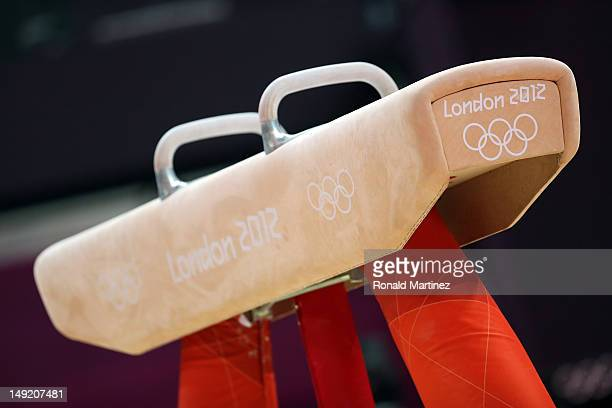 The pommel horse is seen during men's artistic gymnastics training sessions ahead of the 2012 London Olympic Games at North Greenwich Arena on July...
