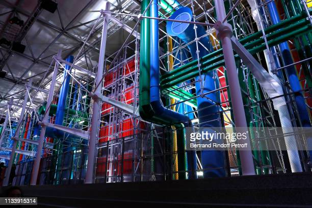 "The ""Pompidou Center"" invites itself to the Louvres - Illustration view during the Louis Vuitton show as part of the Paris Fashion Week Womenswear..."