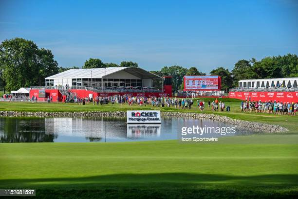 The pond next to the 13th green in the morning during the Rocket Mortgage Classic Golf Tournament on Friday June 27, 2019 at Detroit Golf Club in...