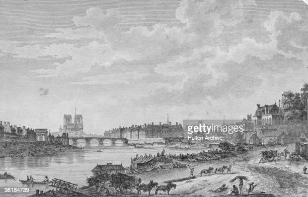 The Pont de la Tournelle over the River Seine in Paris with the cathedral of Notre Dame de Paris behind it 1780 Also pictured are the Ile SaintLouis...