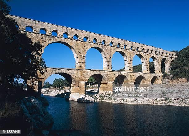 The Pont du Gard part of the ancient Roman aqueduct bridge in Nimes France Roman civilisation 1st century BC