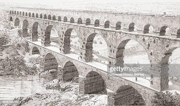 The Pont du Gard VersPontduGard near Remoulins France From Kunstgeschichte In Bildern published 1902