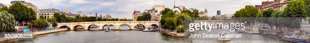 the pont neuf, over the river seine - paris island stock photos and pictures