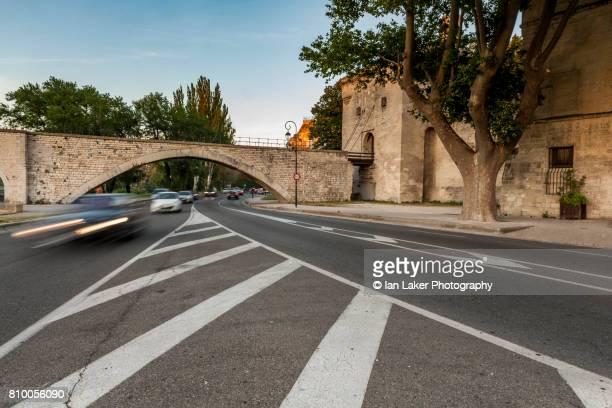 The Pont Saint-Bénézet or Pont d'Avignon in evening light. Avignon, Provence-Alpes-Côte d'Azur, France