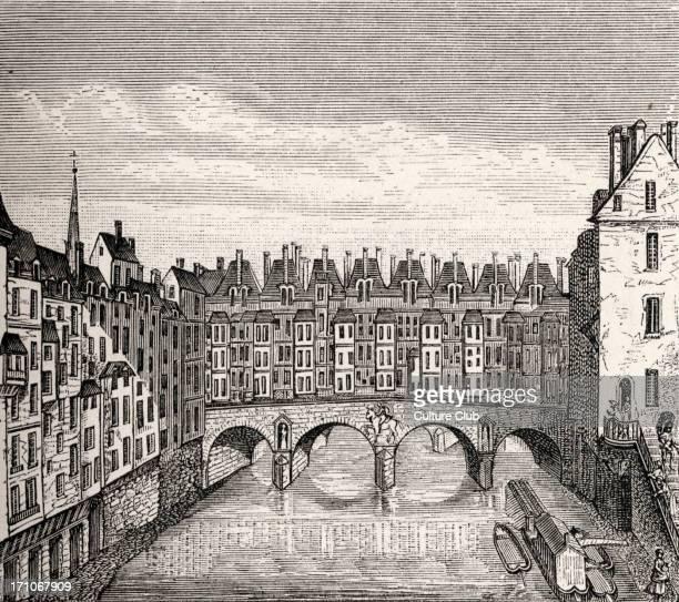 The Pont St Michel Paris France during reign of Louis XV 18th century architecture houses built on bridge later demolished under reign of Louis XVI