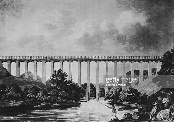 The Pontcysyllte Aqueduct over the River Dee in the Vale of Llangollen Wales circa 1810 Built by Thomas Telford and William Jessop the structure was...
