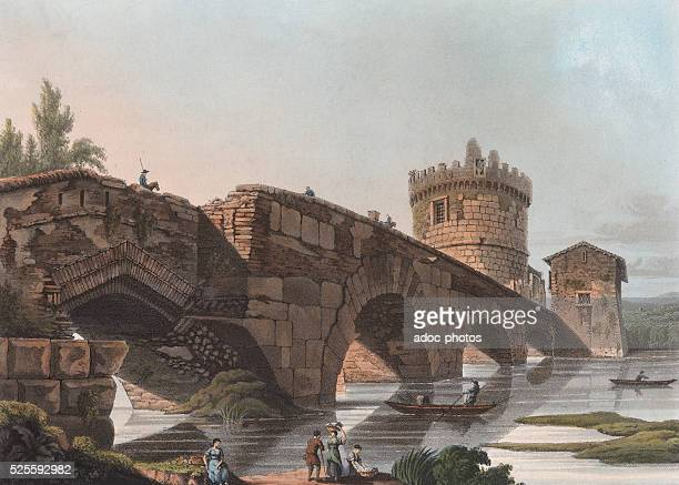 The Ponte Lucano near Rome Aquatint in colour by Matthew Dubourg In 1820