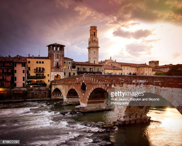 The Ponte Pietra at Sunset in Verona, Italy