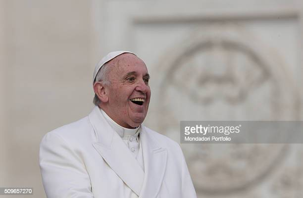 The pontifex Francis smiling during the audience with the Padre Pio prayer groups on Saint Peter Square at the arrival of the relics belonging to...